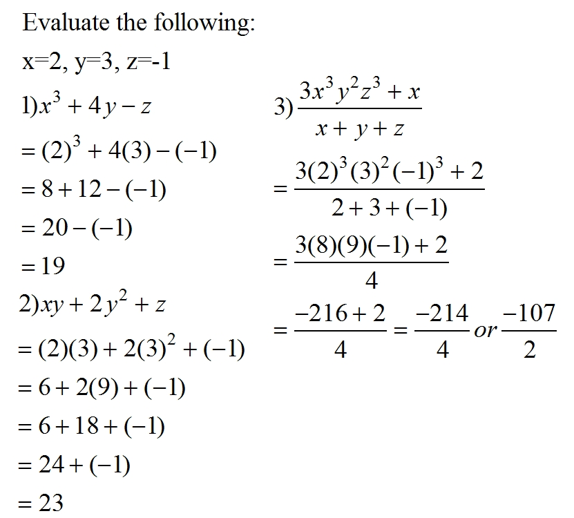 evaluating algebraic expressions : MR.PHI (MATH BLOG)